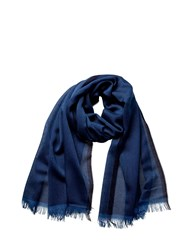 Johnstons Of Elgin Cashmere Tonal Tipped Scarf Blue