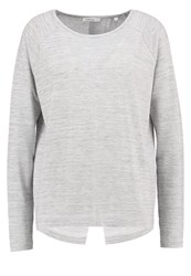 Opus Ginger Long Sleeved Top Light Grey Silver