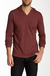 Threads For Thought Slub Knit V Neck Hoodie Red