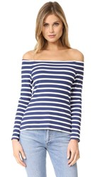 L'agence Cynthia Long Sleeve Off Shoulder Top Navy Magnolia
