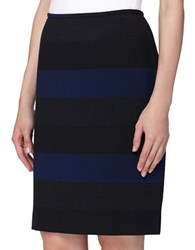 Tahari By Arthur S. Levine Wide Stripe Pencil Skirt Royal