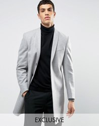 Noak Skinny Smart Overcoat With Shawl Lapel Light Grey