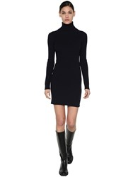Sportmax Virgin Wool Blend Knit Mini Dress Midnight Blue
