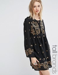 Glamorous Tall Long Sleeve Skater Dress With Paisley Embroidery Black