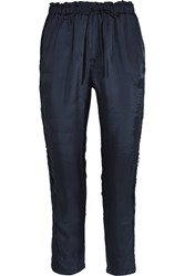 Clu Corded Lace Paneled Satin Twill Track Pants Navy