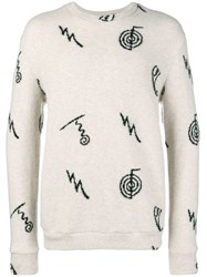 The Elder Statesman Knit Pattern Sweater Nude And Neutrals