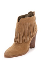 Cynthia Vincent Native Suede Fringe Booties Tan