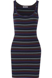 Alexander Wang T By Striped Merino Wool Mini Dress Midnight Blue