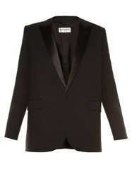 Saint Laurent Le Smoking Single Breasted Crepe Blazer Black