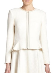 Rebecca Taylor Leather Trimmed Peplum Jacket Chalk