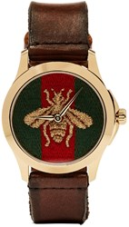 Gucci Brown And Gold Le Marche Des Merveilles Bee Watch