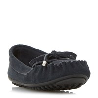 Linea Glovia Suede Driving Moccasin Loafers Navy