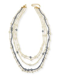 Multi Strand Pearly Bead Necklace White Gray 32'L Women's Pearl Kenneth Jay Lane