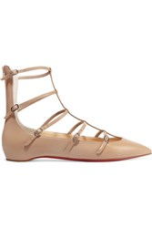 Christian Louboutin Toerless Muse Buckled Leather Point Toe Flats Beige