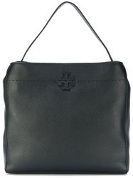 Tory Burch Logo Plaque Tote Bag Leather Black