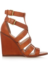 Pour La Victoire Cecile Leather Wedge Sandals Brown