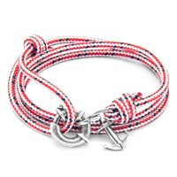 Anchor And Crew Clyde Rope Silver Braceletred Dash