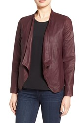 Bb Dakota Women's 'Wyden' Drape Front Leather Jacket Aubergiine