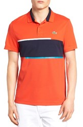 Lacoste Men's Sport Stripe Pique Polo Etna Red Navy Blue White