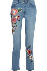Alice Olivia Woman Embroidered High Rise Slim Leg Jeans Mid Denim