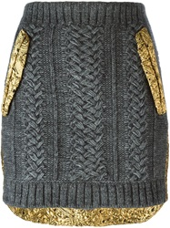 N 21 N.21 Cable Knit Panelled Skirt Metallic