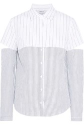 Bailey 44 Royal Treatment Cutout Striped Cotton Poplin Shirt White