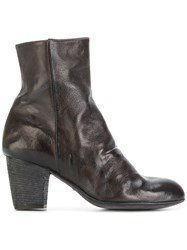 Ink Zipped Ankle Boots Calf Leather Leather Grey