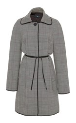 Paule Ka Wool Checked Topper With Self Belt Black