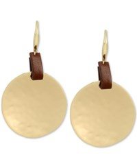Robert Lee Morris Soho Gold Tone Leather Look Hammered Disc Drop Earrings