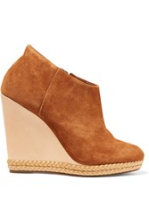 Schutz Belua Suede And Leather Wedge Ankle Boots Light Brown