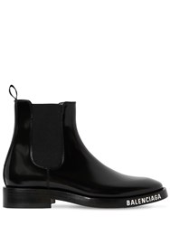 Balenciaga 30Mm Evening Brushed Leather Boots Black