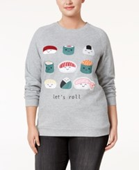Freeze 24 7 Trendy Plus Size Sushi Graphic Sweatshirt Gray