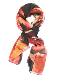 Chesca Abstract Floral Printed Scarf Black Multi