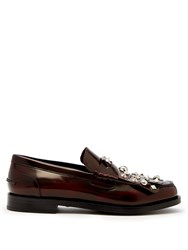 Burberry Studded Polished Leather Loafers Burgundy