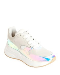 Alexander Mcqueen Leather And Holographic Lace Up Platform Sneakers White Pink