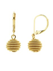 Monet Spirals Gold Ball Leverback Earrings Gold