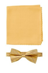 Nicole Miller Silk Striped Bow Tie And Pocket Square Boxed Set Yellow