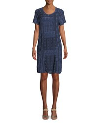 Johnny Was Mixed Berry Georgette Short Sleeve Shift Dress Plus Size Blue