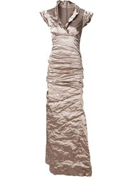 Nicole Miller Creased Effect Evening Dress Nude And Neutrals