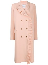 Msgm Coat With Ruffled Detail Pink