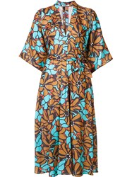 Tome Floral Print Shirt Dress Blue
