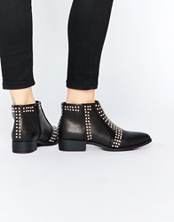 Asos Arrive Studded Pointed Ankle Boots Black