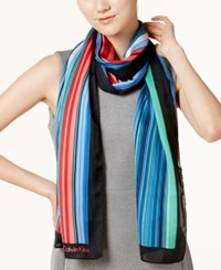Calvin Klein Multicolor Shadow Striped Scarf Rouge Red
