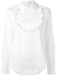 Comme Des Garcons Girl Ruched Bib Shirt Women Cotton M White