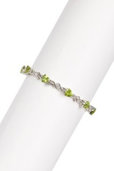 Savvy Cie Peridot And Created White Sapphire Tennis Bracelet Green