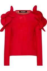 Junya Watanabe Ruffled Wool Sweater Red