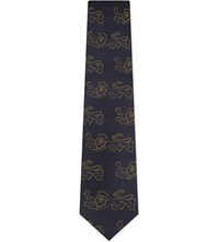 Thomas Pink Lions Bennetti Silk Tie Blue Yellow