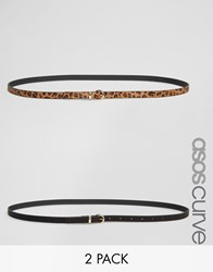 Asos Curve 2 Pack Leopard And Plain Waist And Hip Belts Multi