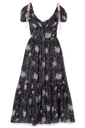 Loveshackfancy Angie Gathered Floral Print Silk Georgette Maxi Dress Midnight Blue