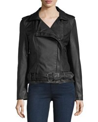 Bagatelle Belted Faux Leather Biker Jacket Black